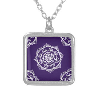 Mandalas on Purple Silver Plated Necklace