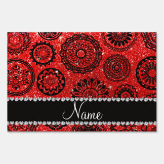 Mandalas rojas de neón conocidas personalizadas letreros