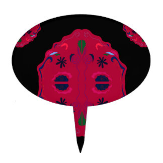 Mandalas wild Red ethno Cake Topper