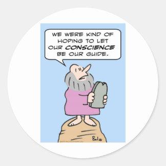 mandamientos de Moses de la guía de la conciencia Pegatina Redonda