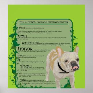 Mandamientos del dogo francés póster