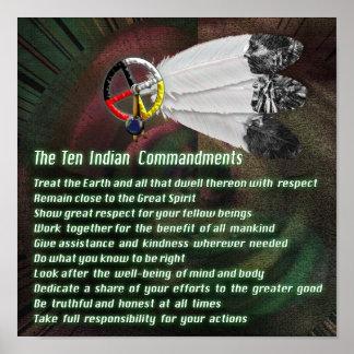 Mandamientos del indio diez póster