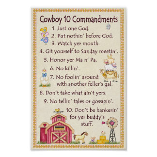 Mandamientos del vaquero 10 - diversión de la gran póster