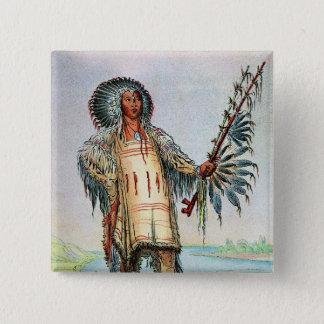 Mandan Indian Ha-Na-Tah-Muah, Wolf chief Pinback Button