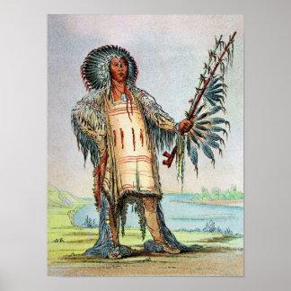 Mandan Indian Ha-Na-Tah-Muah, Wolf chief Poster