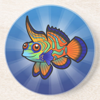 Mandarín del dibujo animado pescados de Dragonet Posavaso Para Bebida