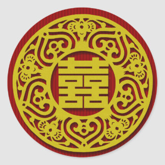 mandarin double happiness red wedding stickers