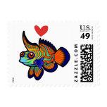 Mandarin / Dragonet Fish Love Postage Stamp