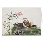 Mandarin Duck Chinese Painting Greeting Card