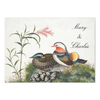 Mandarin Duck Chinese Painting 4.5x6.25 Paper Invitation Card