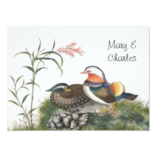Mandarin Duck Chinese Painting 5.5x7.5 Paper Invitation Card