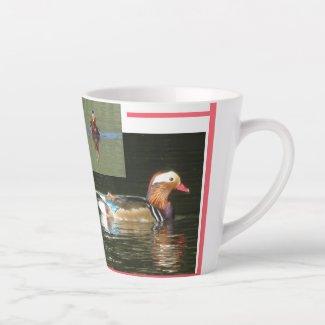 Mandarin Duck Collage Latte Mug