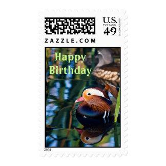 Mandarin Duck Happy Birthday Stamp