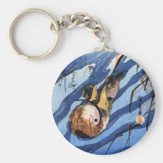 Mandarin Duck, Hiroshige Basic Round Button Keychain