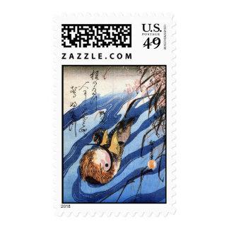 Mandarin Duck, Hiroshige Postage Stamp