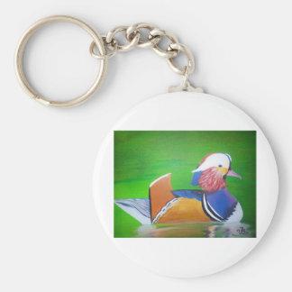 mandarin duck painting mugs, iPhone cases, Basic Round Button Keychain