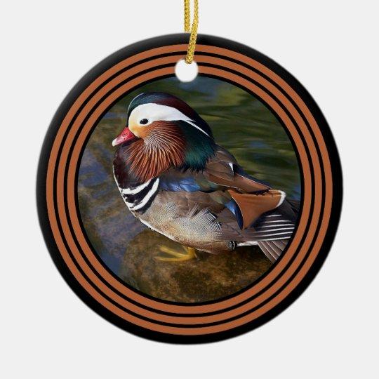 Mandarin Duck - Rusty Round 3 Ceramic Ornament