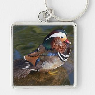 Mandarin Duck Silver-Colored Square Keychain