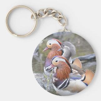 Mandarin Duck Trio Basic Round Button Keychain