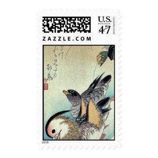Mandarin ducks by Ando, Hiroshige Ukiyoe Postage