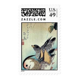 Mandarin ducks by Ando, Hiroshige Ukiyoe Stamp