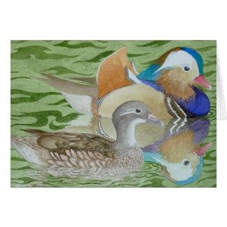 Mandarin Ducks on a lake Card