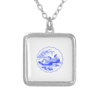 Mandarin Ducks Square Pendant Necklace