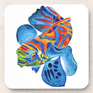 Mandarin Fish design cork coaster set of 6