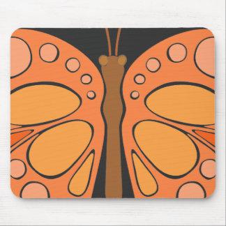 Mandarin Orange 60s Butterfly Mouse Pad