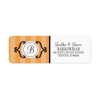 Mandarin Orange Charming Striped Personalized Return Address Label