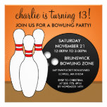 Mandarin Orange Let's Have a Ball Bowling Party Custom Announcements