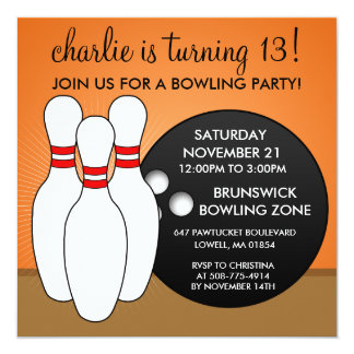 "Mandarin Orange Let's Have a Ball Bowling Party 5.25"" Square Invitation Card"