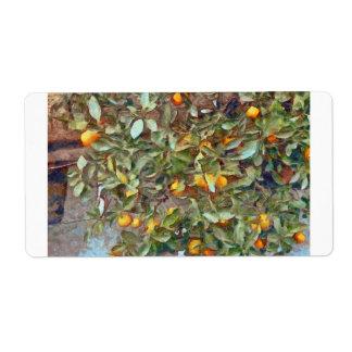 Mandarin Orange plant in the garden Shipping Label