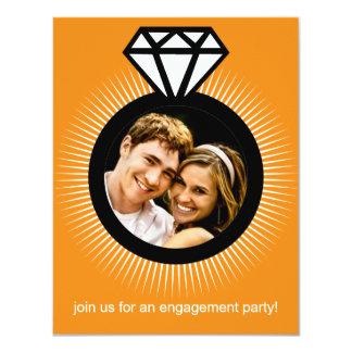 Mandarin Orange The Ring Photo Engagement Party 4.25x5.5 Paper Invitation Card