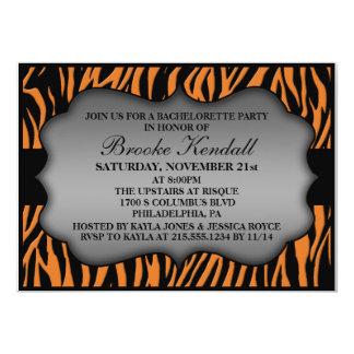 Mandarin Wild Night Zebra Bachelorette Party 5x7 Paper Invitation Card