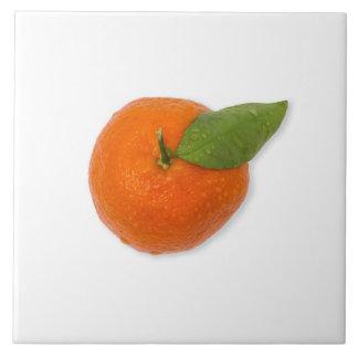 Mandarin with green leaf ceramic tile