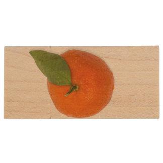 Mandarin with green leaf wood flash drive