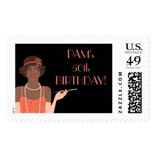 Mandarina afroamericana del chica de la aleta de sello postal