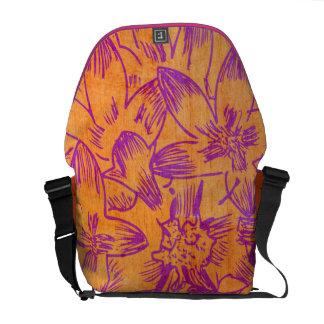 Mandarina caliente del hibisco floral bolsa de mensajería
