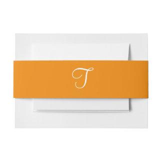 Mandarina de los monogramas cintas para invitaciones