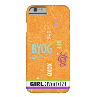 Mandarina del caso de la charla iPhone6 del Doodle Funda Barely There iPhone 6