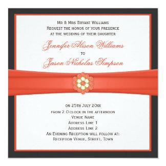 Mandarina e invitaciones gris oscuro de las joyas invitación 13,3 cm x 13,3cm