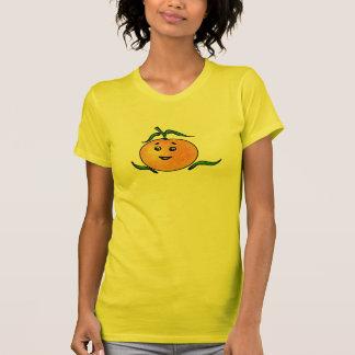 Mandarina linda con la cara sonriente playera