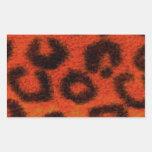 Mandarina manchada del leopardo rectangular pegatinas