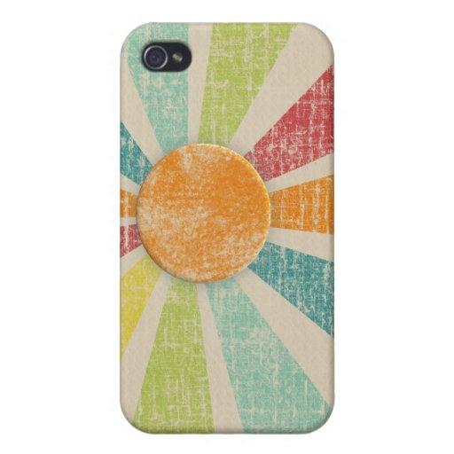 Mandarina tropical del resplandor solar apenada iPhone 4 protector