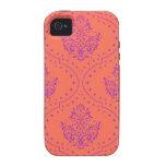 mandarina y damasco púrpura del estilo de la alheñ iPhone 4 carcasa