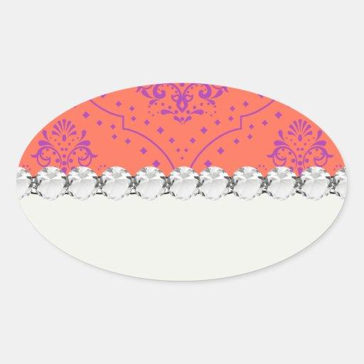 mandarina y damasco púrpura del estilo de la pegatina ovalada