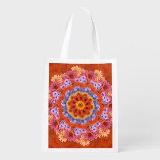 Mandarina y lavanda caleidoscópicas bolsa para la compra