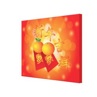 Mandarinas chinas del Año Nuevo y paquetes rojos Impresión En Lienzo