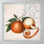 Mandarinas de la vieja pintura china poster